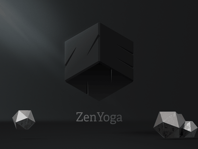 ZenYoga cube logo abstract minimalism minimal cube black dimensions yoga zen vector logo design box art 3d illustration graphic branding brand identity