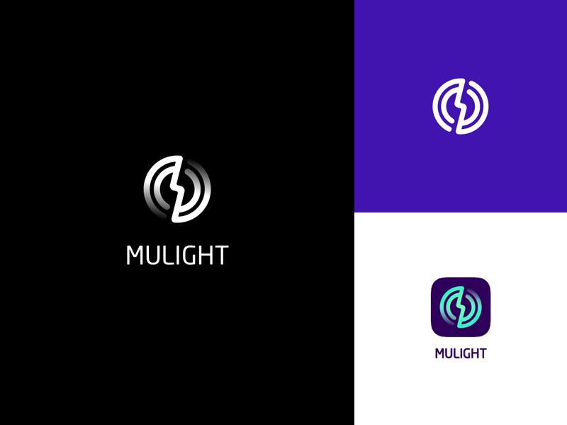 Mulight creative light ray music logo