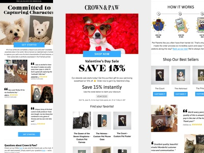 Crown & Paw design template responsive e-mail klaviyo marketing newsletter email