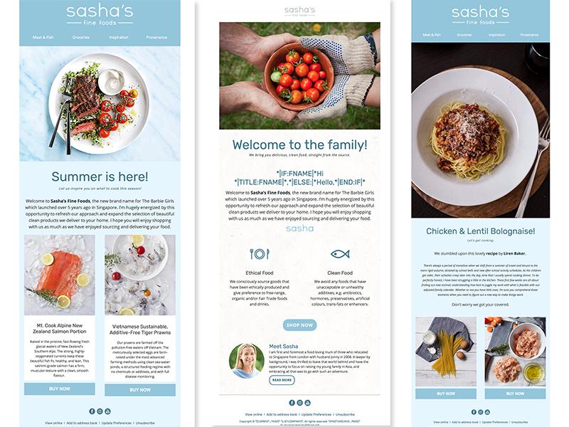 Sasha Fine Foods' E-mail Marketing Templates marketing mailchimp email templates responsive