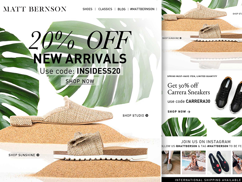 Matt Bernson Spring Insider Sale insider newsletter spring sale marketing mailchimp e-mail shoes