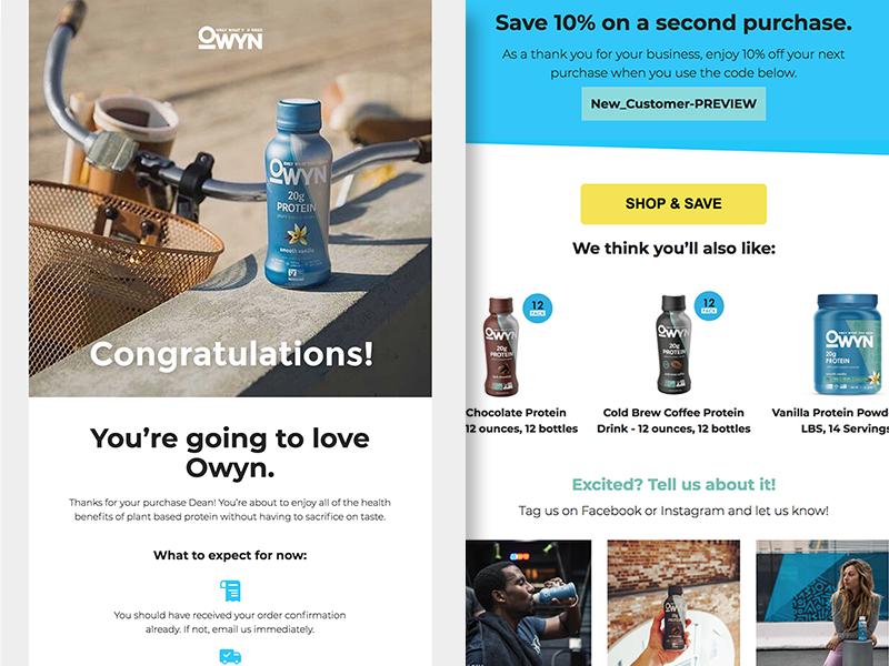 Owyn E-mail Design fit health nutrition owyn new customer newsletter klaviyo e-mail