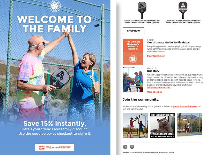 Amazin Aces marketing klaviyo design welcome newsletter e-mail health sports