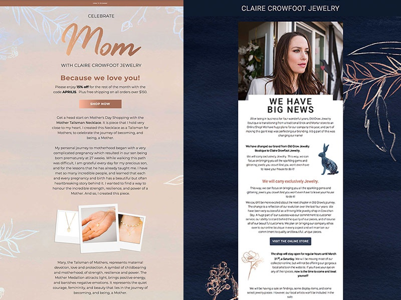Claire Crowfoot Jewelry newsletter responsive template mailchimp jewelry