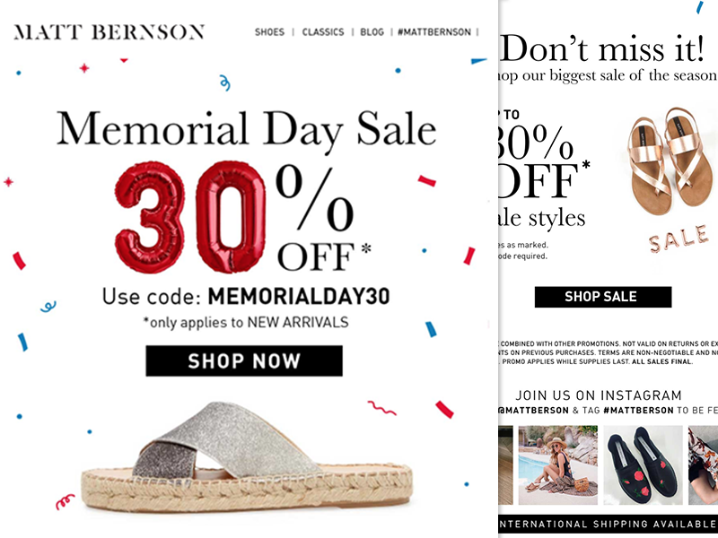 Matt Bernson Memorial Day 2018 Sale responsive memorial day shoes e-mail marketing email newsletter mailchimp