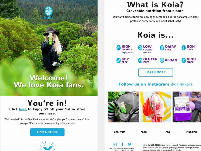 Koia Email design responsive email mailchimp healthy