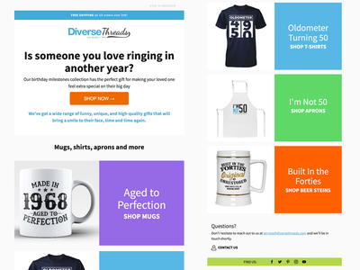 Diverse Threads tshirts klaviyo template marketing e-mail responsive newsletter email