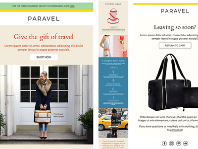 Paravel Flow Templates marketing responsive newsletter email travel html template mailchimp drip flow klaviyo