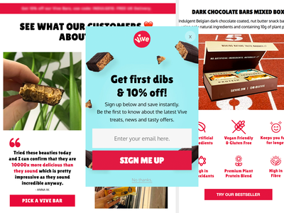 Eat Vive e-mail newsletter template responsive email marketing popups klaviyo email design marketing justuno email bars