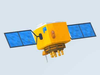 Satellite 3d low-poly low-polygon satellite