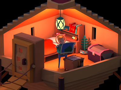 Crafty :) 3d low-poly low-polygon astronaut crafting map hut room character survival