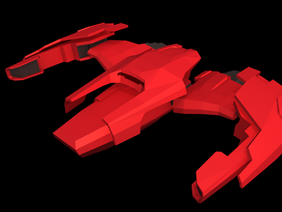 Faster Than Light ftl mantis spaceship fighter low-poly 3d w.i.p.