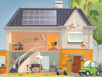 Mango Mobility Home accessibility house cut-through illustration advertising low-poly 3d