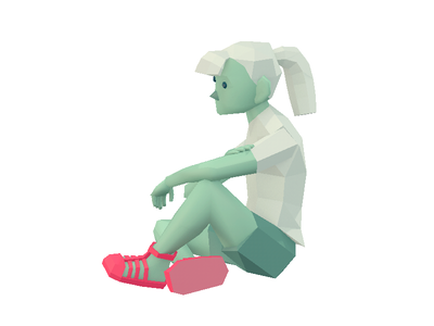 InRetail clothing character illustration advertising low-poly 3d