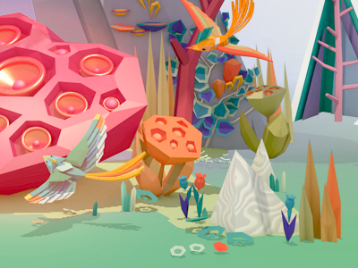Forest fun birds flora forest illustration advertising low-poly 3d