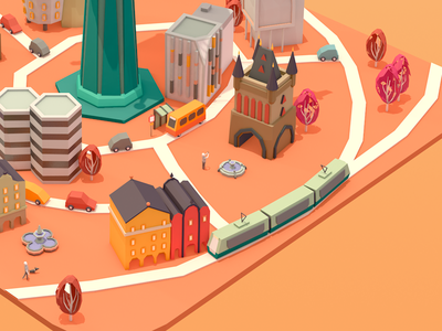 City view buildings city illustration advertising low-poly 3d