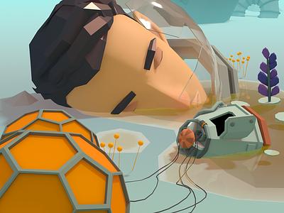 Down landscape face astronaut sci-fi illustration low-poly 3d