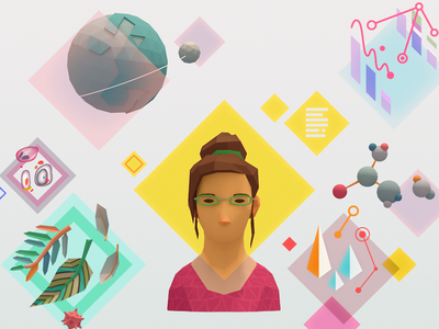 Future of Learning science character infographic graphics vector c4d illustration low-poly 3d