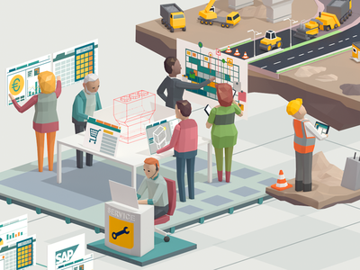 Processes infrastructure office construction infographic illustration low-poly 3d