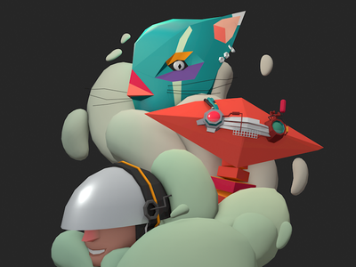 [WIP] dreams characters robots sci-fi futuristic low-poly 3d illustration