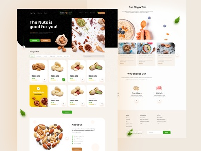 🥜 Almond Oil Nuts Ecommerce Web Design wordpress theme magento theme wordpress ui designer deximlabs ui design design ecommerce