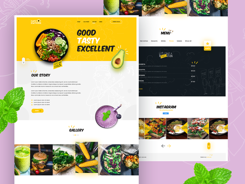 Cafe Stay Woke food website landing page ui landing pages uidesigner design ui  ux dexim