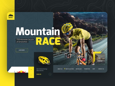 Racing Bike Accessories Ecommerce Site Mockup hero image hero section landing page concept seahawk onepage landing page design color creative  design ecommerce