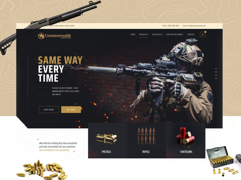 Ammunition Supplier Manufacturer Web Design Mockup dexim ui design landing page design one page ecommerce onepage