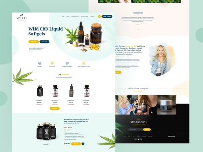 CBD Oil Ecommerce Website Design Mockup onepage design onepage deximlabs magento design wordpress theme dexim ecommerce