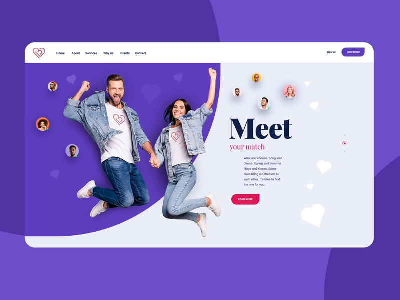 Match Making Dating Site Website Design Mockup ecommerce color design dating website poland dexim ecommerce design