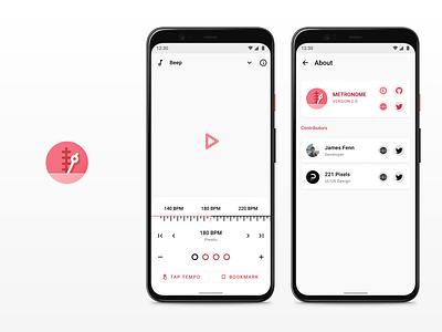 Metronome 2.0 - UI/UX app inspiration materialdesign music app android app design google design music metronome design material theming android material design