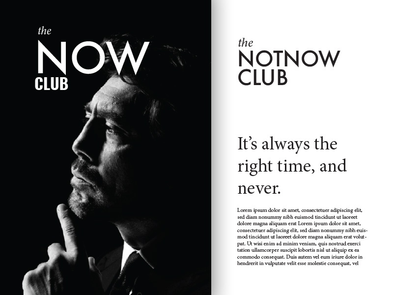 Brand exploration 'the Now club' layout networking business typography branding