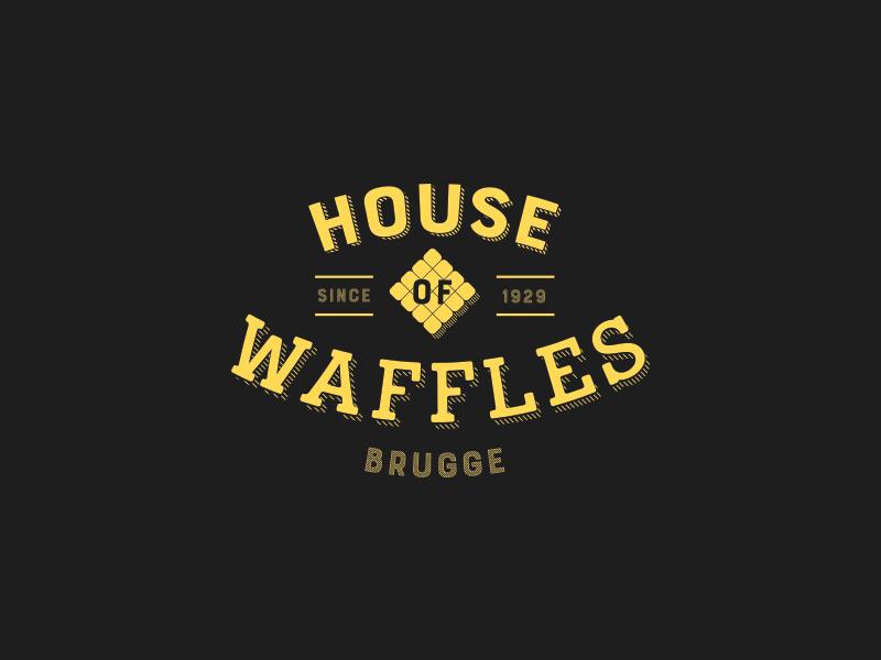 House of waffles type extruded typography identity brugge vintage waffles logo