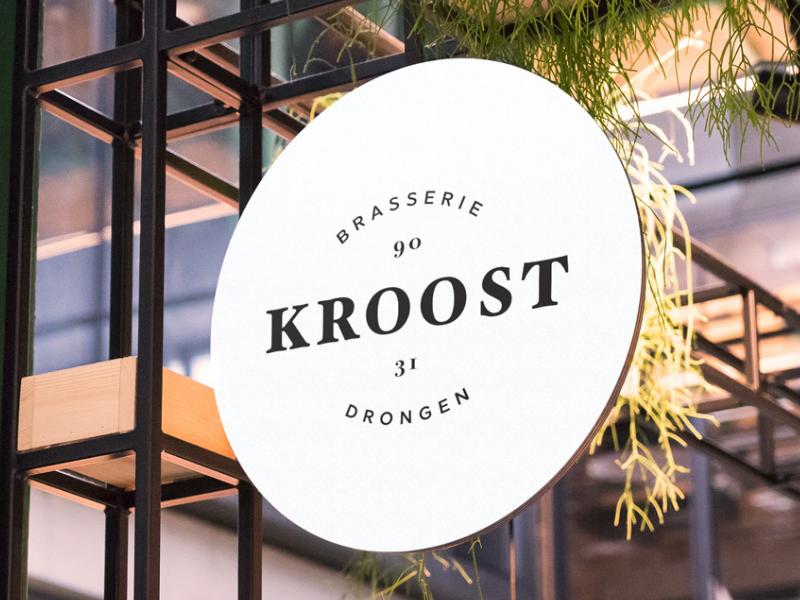 Logo design Kroost identity design typography signage restaurant logo