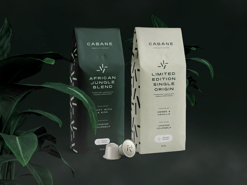 Cabane brand & packaging design coffee jungle packaging identity typography branding logo