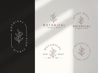 Botanical Hand Drawn Logo with Wild Flower and Leaves hand drawn botanical symbol