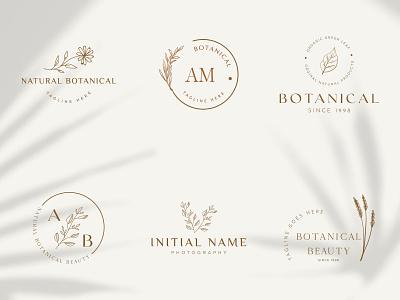 Botanical Floral Logo design element Hand Drawn flower and leave art creative organic natural plant icon floral leaf elegent emblem hand drawn botanical logo graphic design flower vector template symbol branding logo