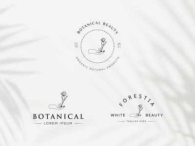 Botanical Floral Logo design element Hand Drawn flower and leave organic elegent emblem plant desing natural leaf minimal simple hand drawn botanical logo graphic design flower vector template symbol branding logo