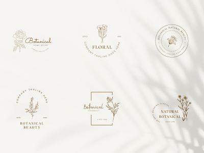 Botanical Floral element Hand Drawn Logo with Wild Flower art label beauty icon organic floral design nature leaf emblem vintage minimal hand drawn botanical logo flower vector template symbol branding logo