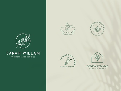 Botanical Floral element Hand Drawn Logo with Wild Flower art creative emblem decoration nature leaf vintage minimal simple hand drawn botanical logo symbol flower vector template branding logo