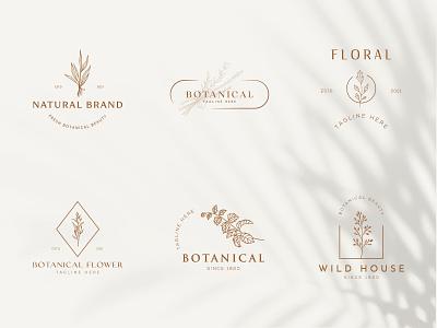 Botanical Floral element Hand Drawn Logo with Wild Flower beauty icon business emblem element plant design organic nature leaf symbol flower vector template branding logo hand drawn floral boptanical