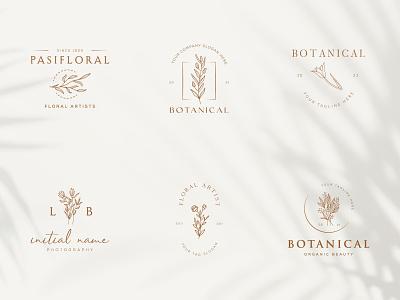 Botanical Floral element Hand Drawn Logo with Wild Flower art design plant organic sign spa beauty elegent emblem nature leaf symbol flower vector template branding logo hand drawn floral botanical