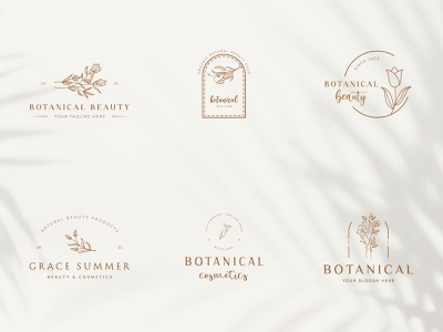 Botanical Floral element Hand Drawn Logo with Wild Flower fashion icon beauty organic elegent minimal simple natural leaf symbol flower vector template branding logo hand drawn floral botanical