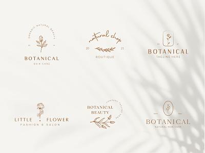 Botanical Floral element Hand Drawn Logo with Wild Flower fashion beauty organic emblem elegent minimal simple design leaf symbol flower vector template branding logo hand drawn floral botanical