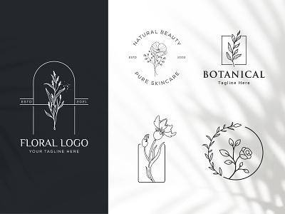 Botanical Floral element Hand Drawn Logo with Wild Flower fashion beauty elegent embelm organic minimal simple design leaf symbol flower vector template branding logo hand drawn floral botanical