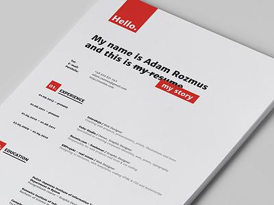 Resume grid cv resume minimal red black mockup print experience education job search