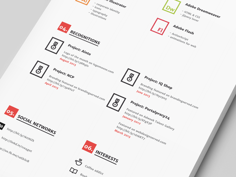 Resume #2 grid cv resume minimal red black mockup print experience education job search