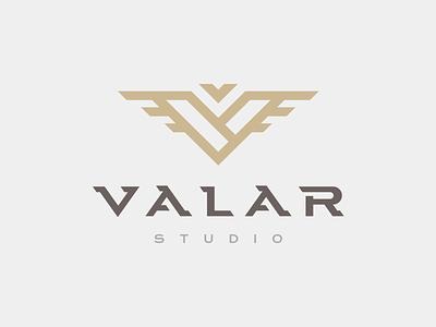 Valar Studio gold typography branding monogram logo studio valar mark v
