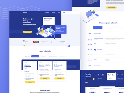 Testuj pl - home page, course details usability testing it isometric ux ui modern webdesign design web