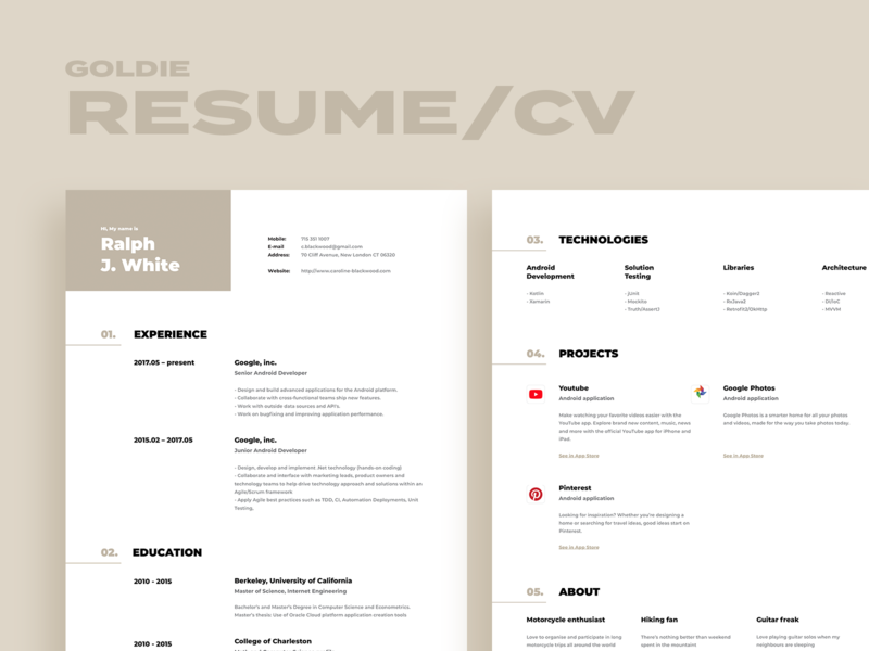Goldie. Resume / CV template search find job developer designer a4 modern gold clean print resume template resume clean cv resume template cv resume resume cv design cv